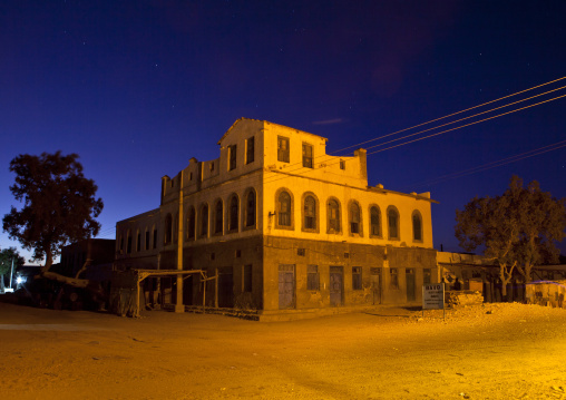 Former ottoman empire house by night, Berbera, Somaliland