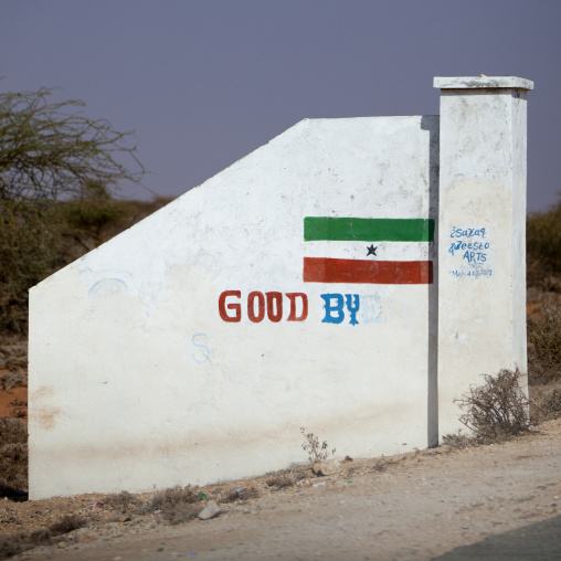 Good bye sign painted onto the white exit door in the entrance road, Burao, Somaliland