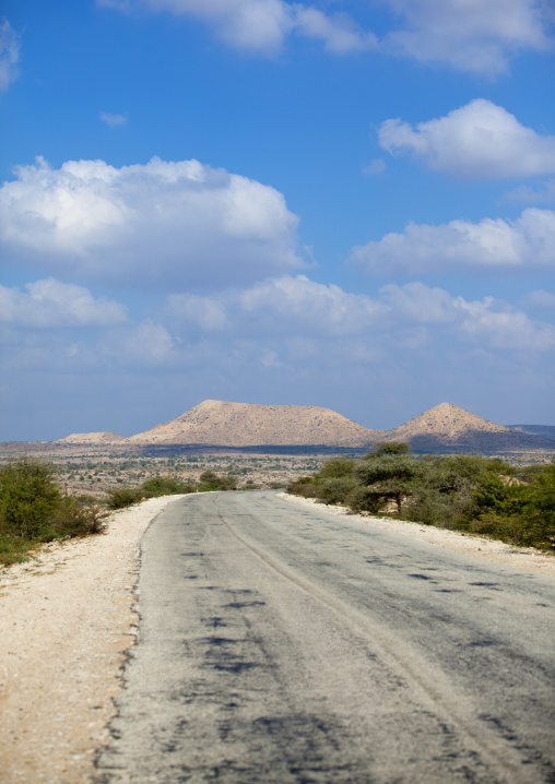On the road with mountains on background, Berbera area, Somaliland