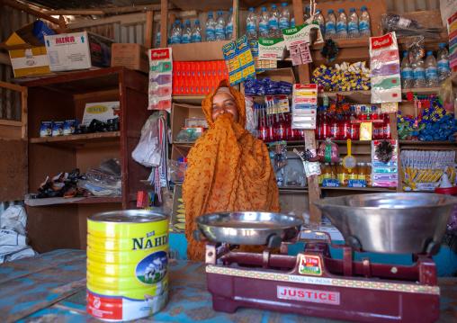 Potrait of a somali woman seller in a shop, Woqooyi galbeed province, Baligubadle, Somaliland