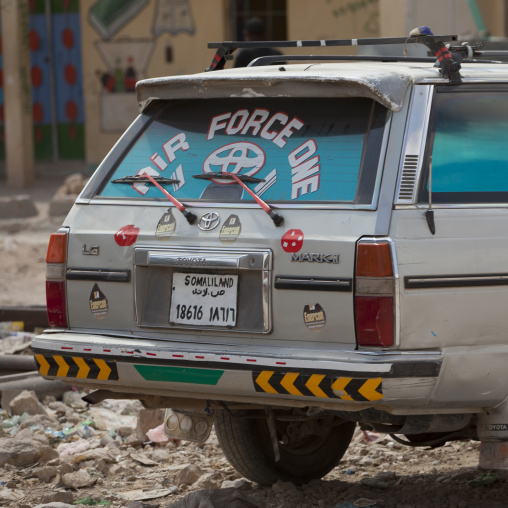 A car with an air force one sign in the rear glass, Hargeisa area, Somaliland