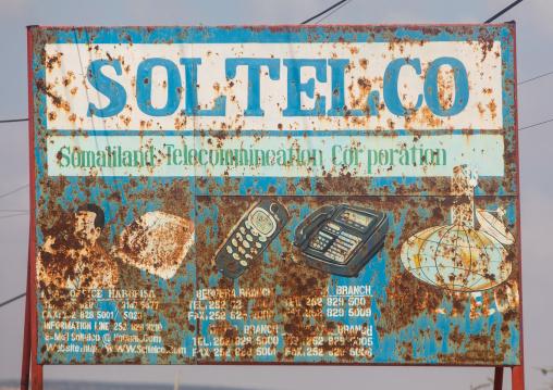 Rusty telecom company advertisement billboard, Woqooyi galbeed region, Hargeisa, Somaliland