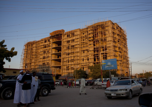 A big buiding under construction in declining light, Hargeisa, Somaliland