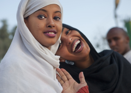 Portrait of two smiling teenage girls, Hargeisa, Somaliland