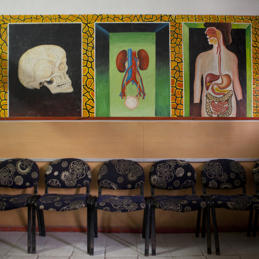 A doctors waiting room with organs depicted on the wall, Hargeisa, Somaliland