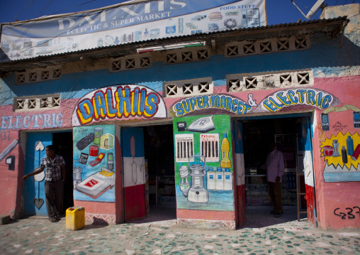 Colorful painted entrance of a supermarket shop, Boorama, Somaliland