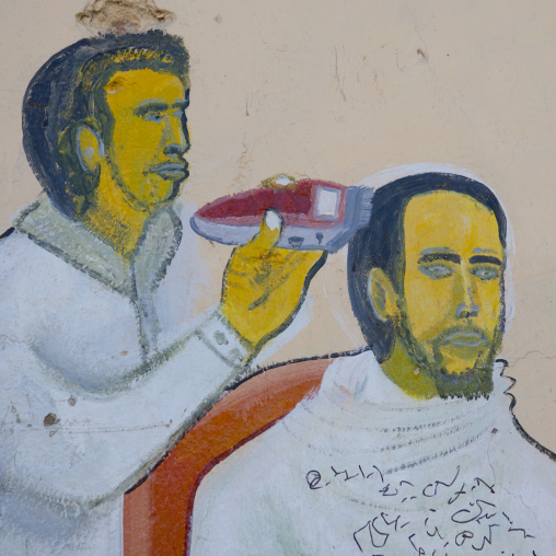 A Painted Sign For A Barbershop Depicting A Man Getting A Haircut, Boorama, Somaliland