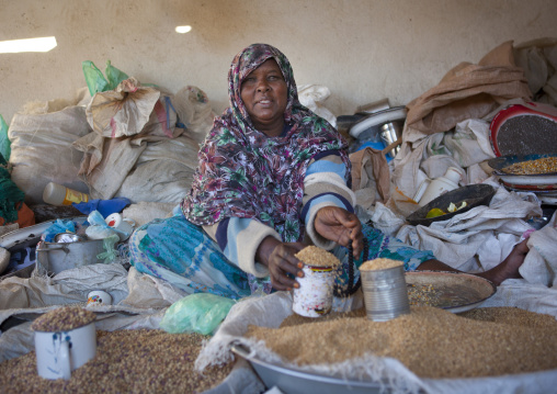 A seed merchant woman sat on the ground, Boorama, Somaliland