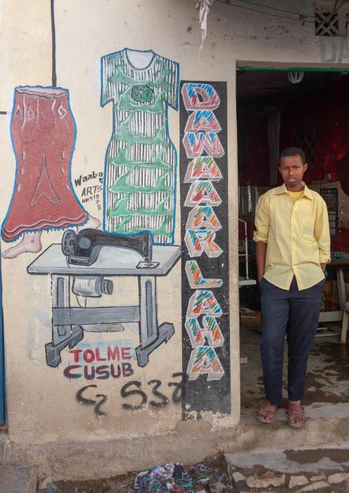 Somali man working in a tailor shop, Woqooyi galbeed region, Hargeisa, Somaliland