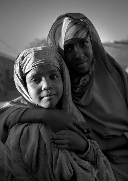Black and white portrait of two young girls, Boorama, Somaliland
