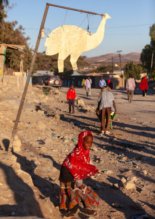 Ostrich billboard in the street for a restaurant, Woqooyi galbeed region, Hargeisa, Somaliland
