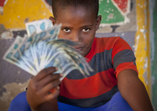 Smiling young boy with bank notes in his hand, Somaliland