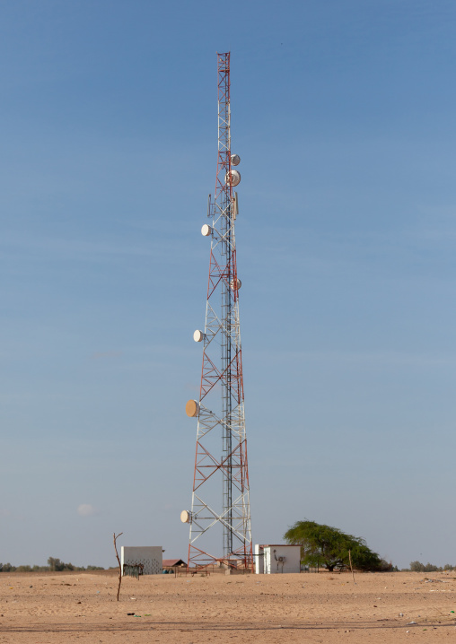Mobile phone antenna in the desert, Awdal region, Zeila, Somaliland