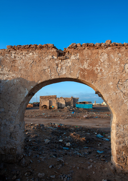 Ruins of a house in the old town after the somalian civil war, Awdal region, Zeila, Somaliland