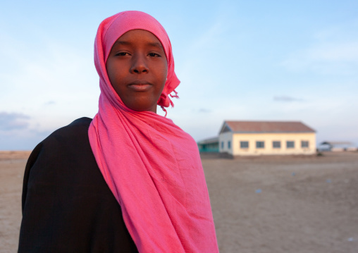 Portrait of a somal girl in pink hijab, Awdal region, Zeila, Somaliland