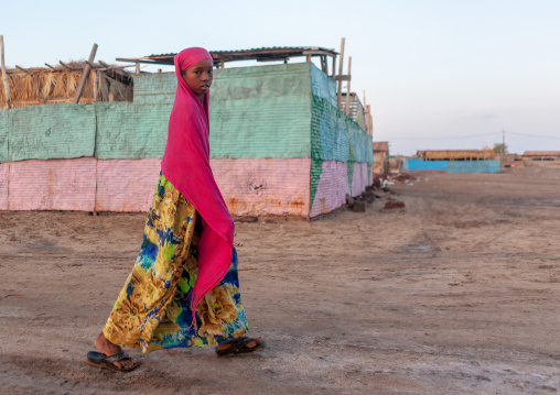 Somali girl passing in the street, Awdal region, Zeila, Somaliland