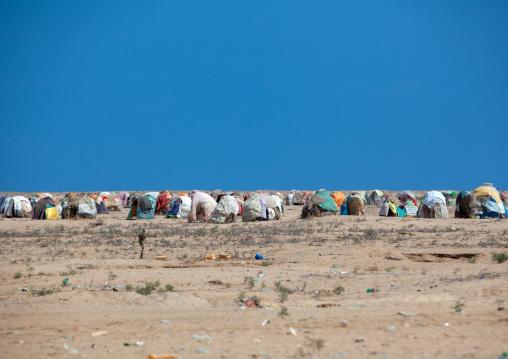 Refugees somali huts in the desert, Awdal region, Lughaya, Somaliland