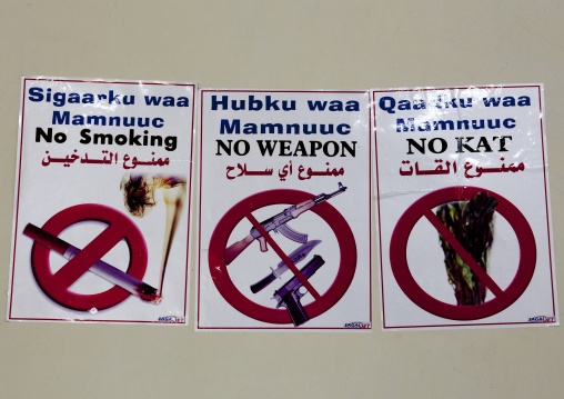Smoke Weapon And Drugs Prohibition Sign At The Berbera Airport, Somaliland