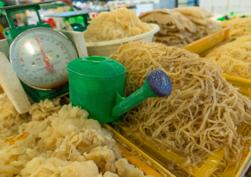 Dried seaweeds and watering can in noryangjin fisheries wholesale market, National capital area, Seoul, South korea