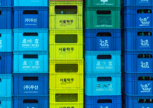 Packs of bottles in a supermarket, National capital area, Seoul, South korea