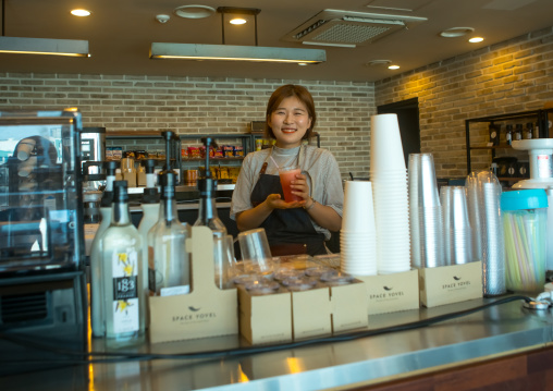 A north korean defector called huaryeong working at yovel cafe in ibk bank, National capital area, Seoul, South korea