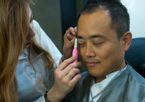 North korean defector joseph park in a beauty saloon before his wedding pictures session, National capital area, Seoul, South korea