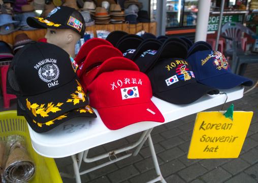 Caps sold at the dmz on the north and south korea border, Sudogwon, Paju, South korea