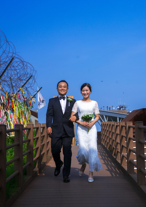 North korean defector joseph park with his south korean fiancee called juyeon on the north and south korea border, Sudogwon, Paju, South korea