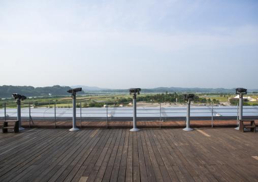 Binoculars in front of the border between north and south korea, Sudogwon, Paju, South korea