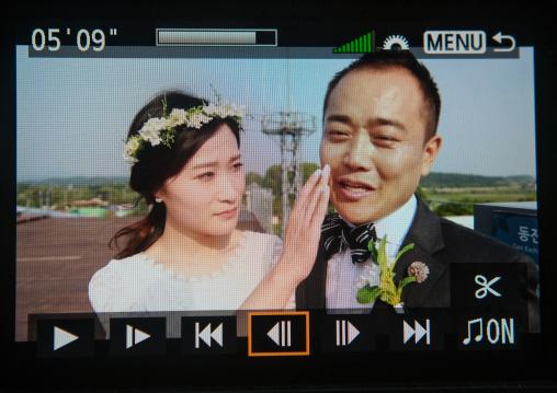 North korean defector jjoseph park crying with his south korean fiancee while recording a video on the dmz, Sudogwon, Paju, South korea