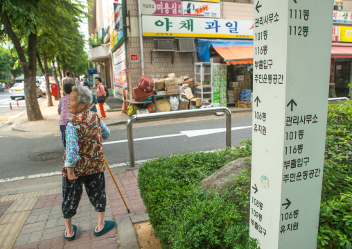 Old women from north korea in the street of yangcheong, National capital area, Seoul, South korea