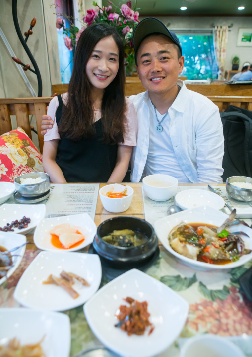 North korean defector joseph park eating at restaurant with his south korean fiancee juyeon, National capital area, Seoul, South korea