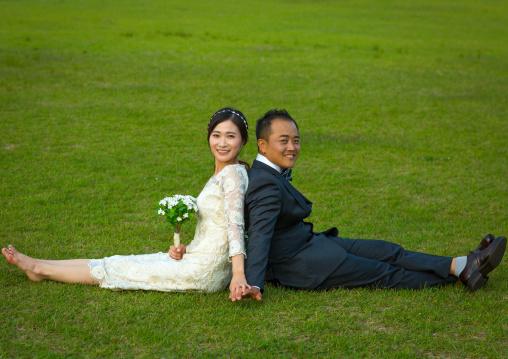 North korean defector joseph park with his south korean fiancee called juyeon in imjingak park, Sudogwon, Paju, South korea