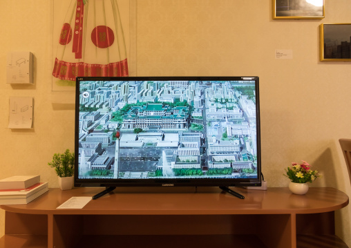 Television during the exhibition Pyongyang sallim at architecture biennale showing a north Korean apartment replica, National Capital Area, Seoul, South Korea