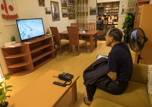 South Korean visitor looking at television during the exhibition Pyongyang sallim at architecture biennale showing a north Korean apartment replica, National Capital Area, Seoul, South Korea