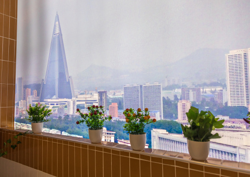 View on Ryugyong hotel  from a balcony during the exhibition Pyongyang sallim at architecture biennale showing a north Korean apartment replica, National Capital Area, Seoul, South Korea