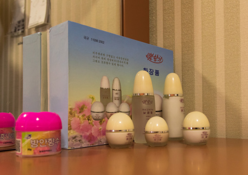 Beauty products made in china during the exhibition Pyongyang sallim at architecture biennale showing a north Korean apartment replica, National Capital Area, Seoul, South Korea