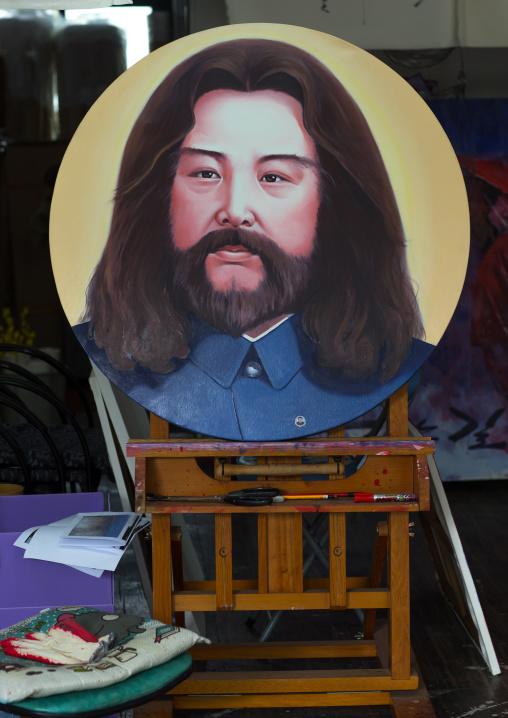 Painting depicting a Kim jong il as Jesus by north Korean defector artist Sun Mu, National Capital Area, Seoul, South Korea