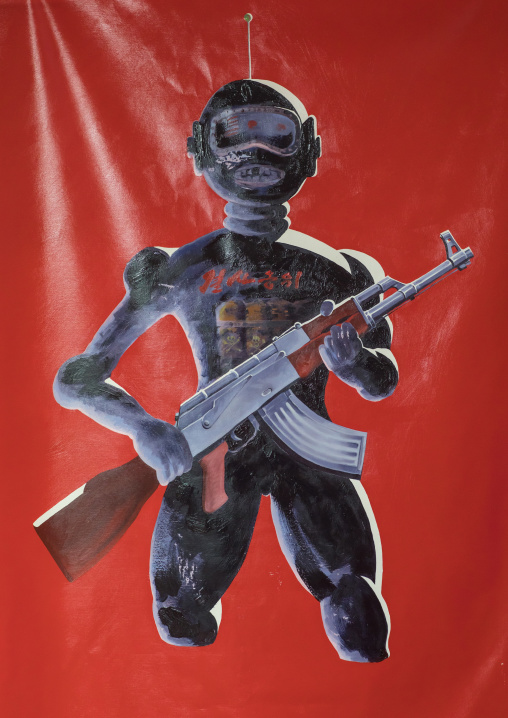 Painting depicting a north Korean robot by north Korean defector artist Sun Mu, National Capital Area, Seoul, South Korea
