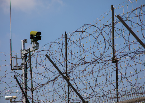 Barbed wires and CCTV on the DMZ, North Hwanghae Province, Panmunjom, South Korea