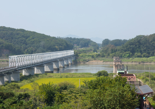 Freedom and railway bridge over Imjin river between north and south Korea, North Hwanghae Province, Panmunjom, South Korea