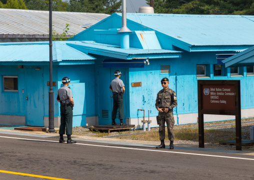 South Korean soldiers in the joint security area on the border between the two Koreas, North Hwanghae Province, Panmunjom, South Korea