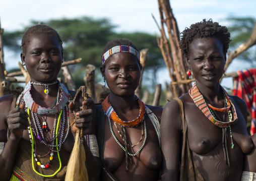 Toposa tribe women in traditional clothing, Namorunyang State, Kapoeta, South Sudan