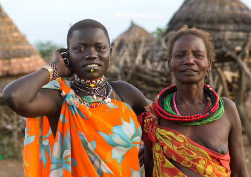 Toposa tribe mother and daughter in traditional clothing, Namorunyang State, Kapoeta, South Sudan