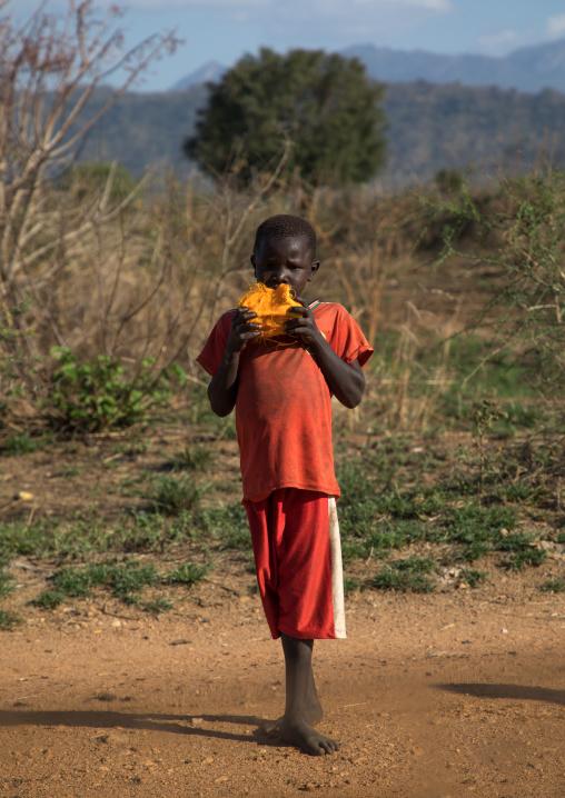 Larim tribe boy eating doum palm fruit, Boya Mountains, Imatong, South Sudan