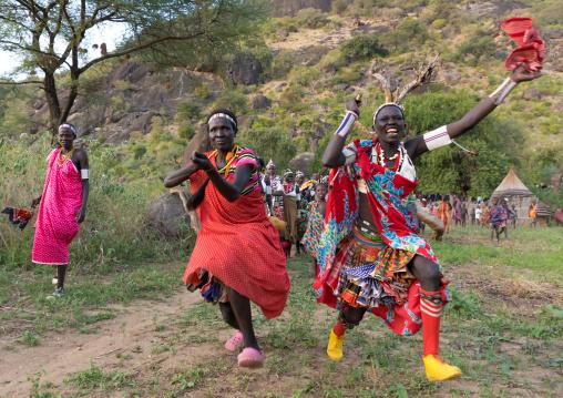 Larim tribe women dancing during a wedding celebration, Boya Mountains, Imatong, South Sudan
