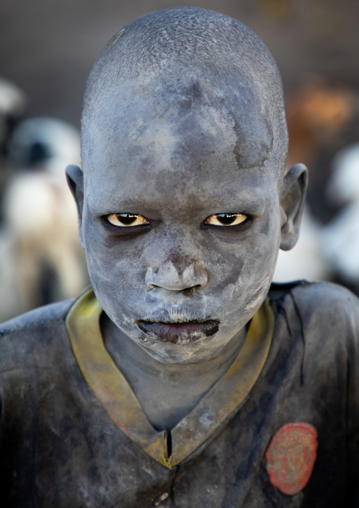 Mundari tribe boy covered in ash in a camp, Central Equatoria, Terekeka, South Sudan
