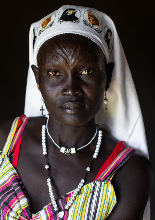 Portrait of a Mundari tribe nun with scarifications on the forehead, Central Equatoria, Terekeka, South Sudan