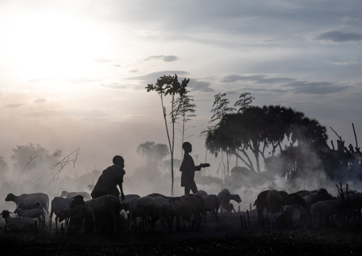Mundari tribe boys taking care of the bonfires made with dried cow dungs to repel flies and mosquitoes, Central Equatoria, Terekeka, South Sudan