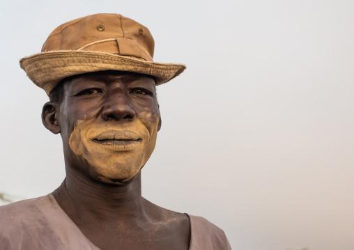 Portrait of a Mundari tribe man with a hat, Central Equatoria, Terekeka, South Sudan